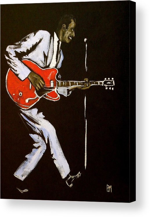 Chuck Berry Acrylic Print featuring the painting Chuck Berry by Pete Maier