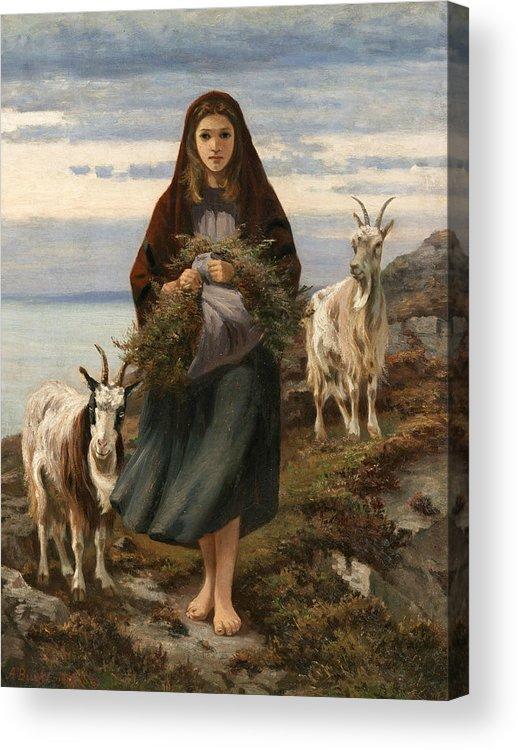Irish Art Acrylic Print featuring the painting Connemara Girl by Augustus Nicholas Burke