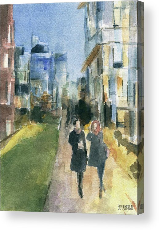 New York Acrylic Print featuring the painting Couple Walking On The New York High Line by Beverly Brown