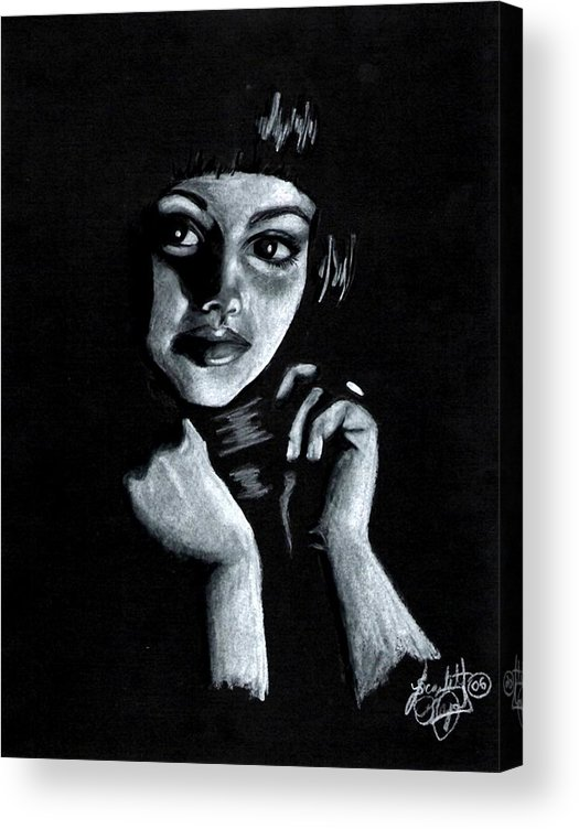 Portrait Acrylic Print featuring the drawing Curiosity by Scarlett Royal