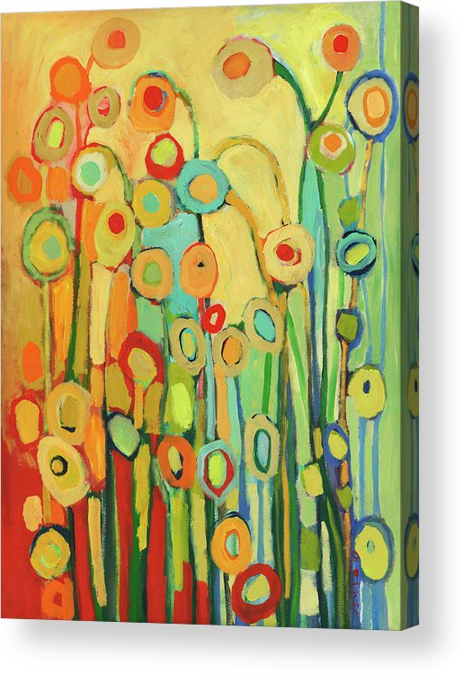 Floral Acrylic Print featuring the painting Dance of the Flower Pods by Jennifer Lommers