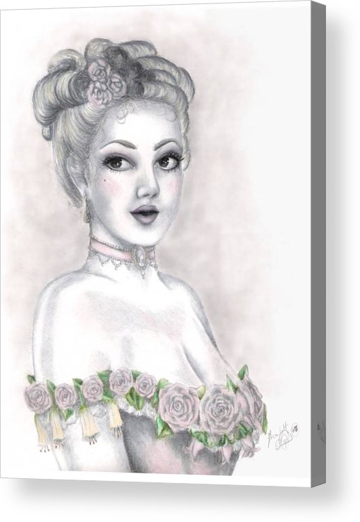 Portrait Acrylic Print featuring the drawing Delicate Beauty by Scarlett Royal