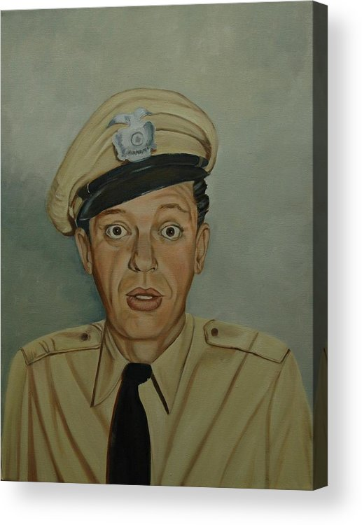 Barney Acrylic Print featuring the painting Don Knotts as Barney Fife by Tresa Crain