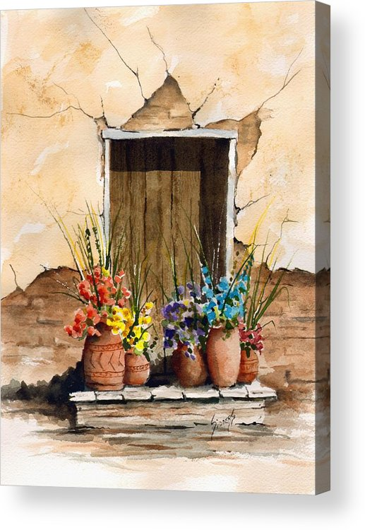 Door Acrylic Print featuring the painting Door With Flower Pots by Sam Sidders