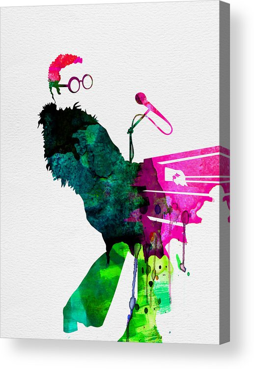Elton Acrylic Print featuring the painting Elton Watercolor by Naxart Studio