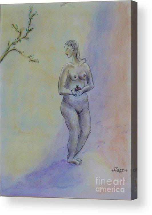 Woman Acrylic Print featuring the pastel Eve by Ushangi Kumelashvili