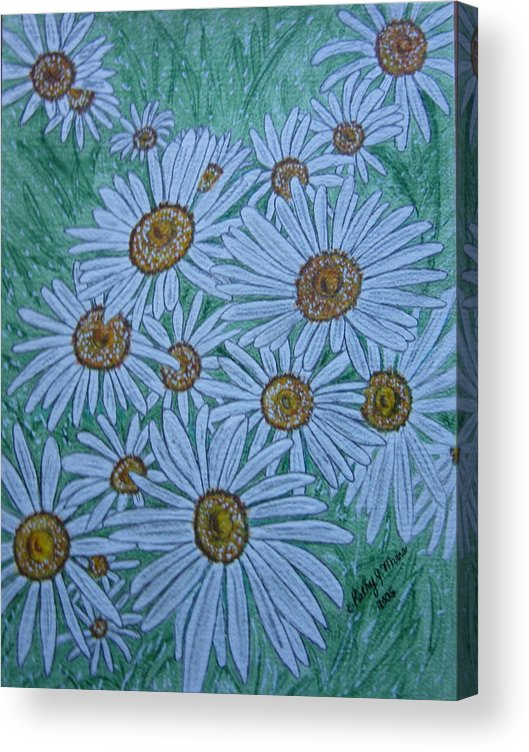Field Acrylic Print featuring the painting Field Of Wild Daisies by Kathy Marrs Chandler