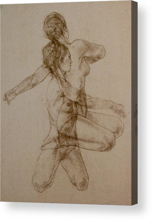 Female Acrylic Print featuring the painting Figurative Movement by Gary Kaemmer