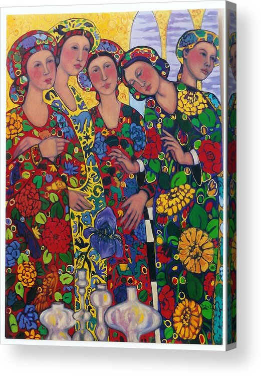 Five Women And The Iris Acrylic Print featuring the painting Five Women And The Iris by Marilene Sawaf