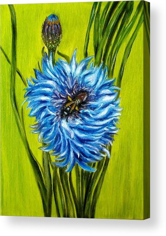 Flower Acrylic Print featuring the painting Flower and Bee oil painting by Natalja Picugina