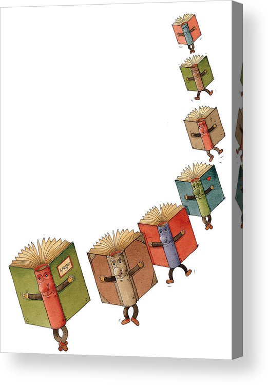 Books Flying Literature Readind Acrylic Print featuring the painting Flying Books02 by Kestutis Kasparavicius