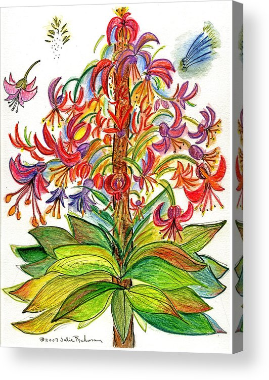 Flowers Nature Botany Drawing Julie Richman Flora Pencil Acrylic Print featuring the painting Funny flowers on green plant by Julie Richman