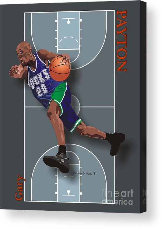 Portraits Acrylic Print featuring the digital art Gary Payton by Walter Neal