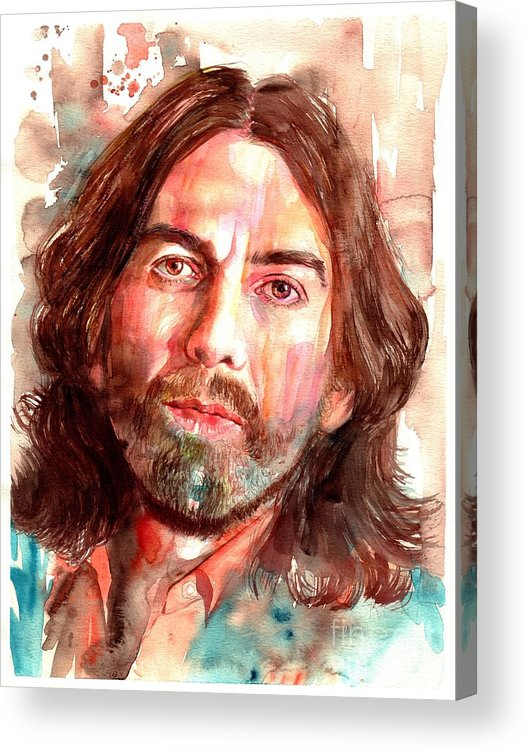 George Acrylic Print featuring the painting George Harrison portrait by Suzann Sines