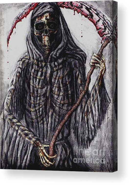 Grim Reaper Acrylic Print featuring the drawing Grim Reaper Colored by Katie Alfonsi