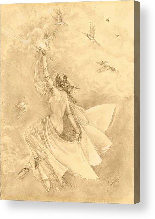 Flying Acrylic Print featuring the drawing Heavenward by Julianna Ziegler