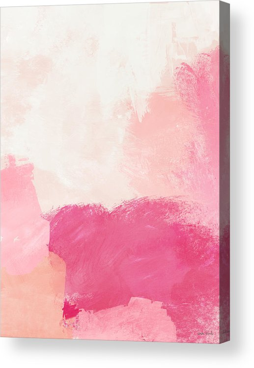 Abstract Acrylic Print featuring the mixed media History of Pink- Abstract Art by Linda Woods by Linda Woods