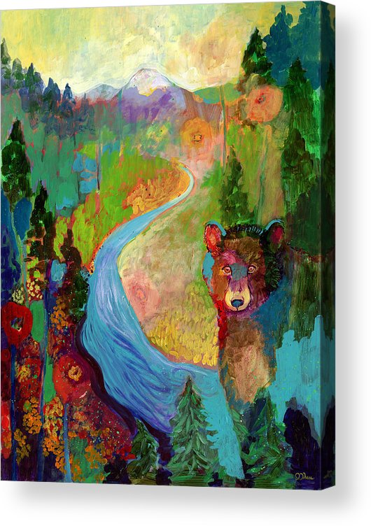 Bear Acrylic Print featuring the painting I Am The Mountain Stream by Jennifer Lommers