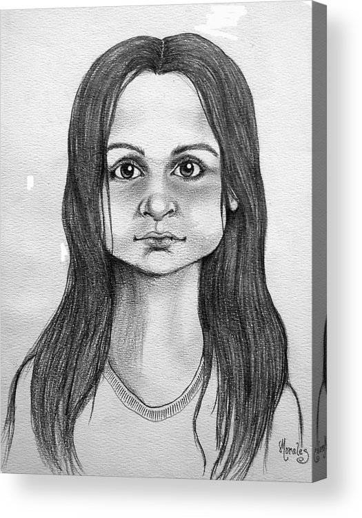 Portrait Acrylic Print featuring the drawing Immigrant Girl by Marco Morales