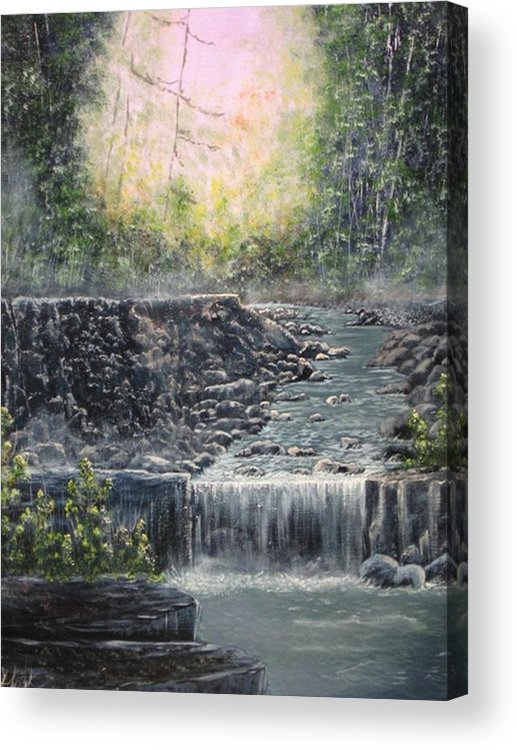 Landscape Acrylic Print featuring the painting In The Beginning by Sheila Banga