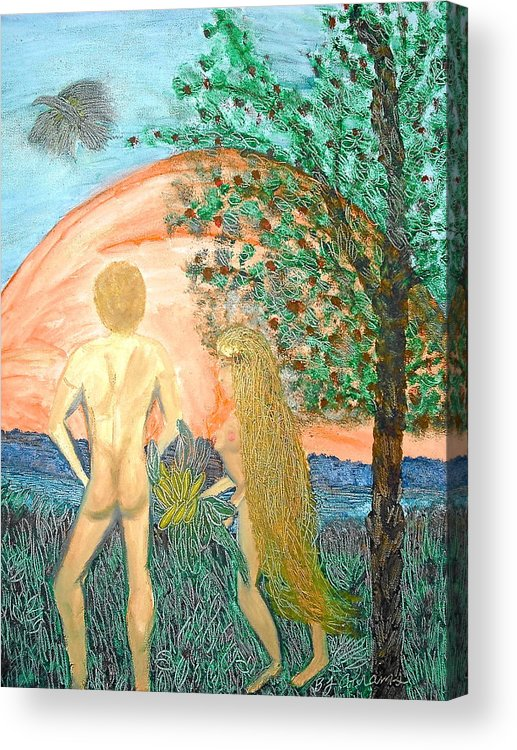 Creation Acrylic Print featuring the painting In the Garden by BJ Abrams