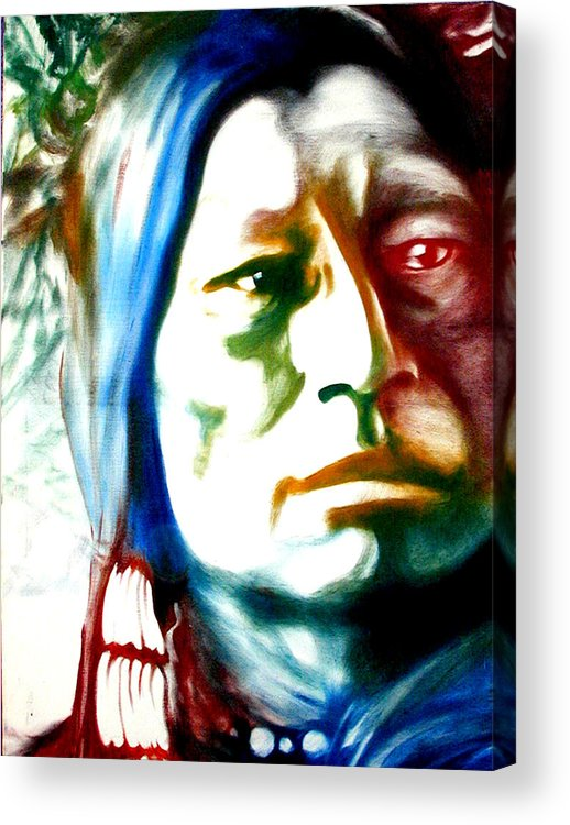 Portrait Acrylic Print featuring the painting Indian 1 by Scott Robinson