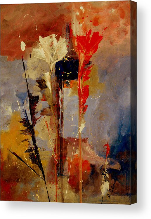 Abstract Botanical Floral Flowers Color Red Pink Blue White Yellow Orange Purple Acrylic Print featuring the painting Inspire Me by Ruth Palmer