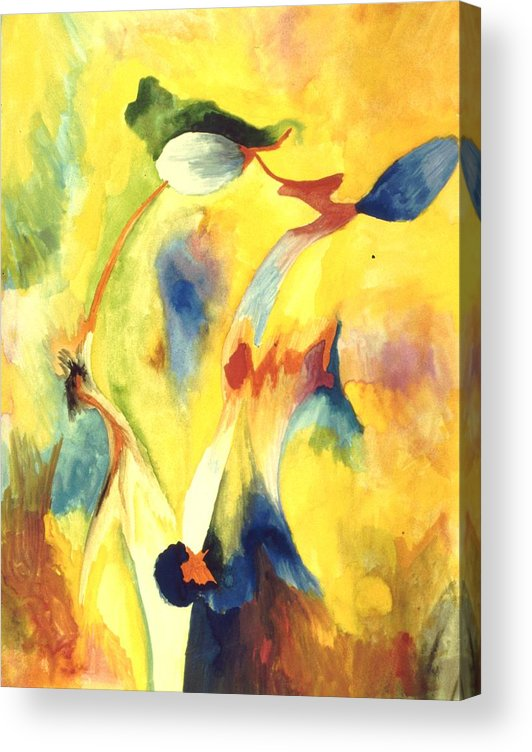 Abstract Acrylic Print featuring the painting Interactions by Peter Shor