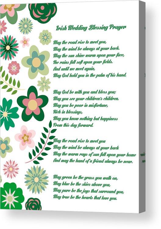 Irish Wedding Blessing Prayer Acrylic Print By Celestial Images