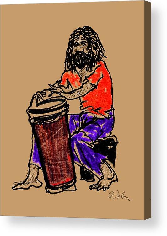 Jamaica Jamaican Drummer Drum Acrylic Print featuring the digital art Jamaican Drummer by Edward Farber