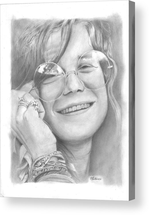 Janis Joplin Acrylic Print featuring the drawing Janis by Kevin Sullivan