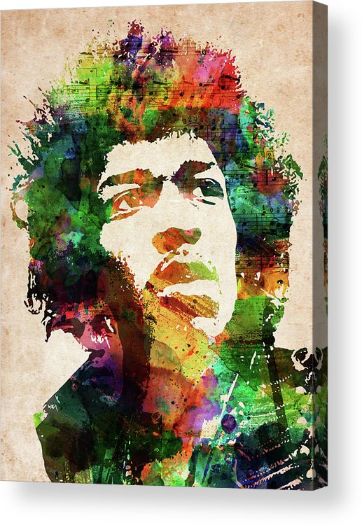 Jimi Hendrix Acrylic Print featuring the digital art Jimi Hendrix colorful portrait by Mihaela Pater