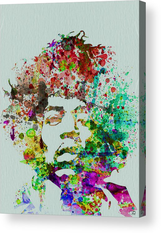 Jimmy Hendrix Acrylic Print featuring the painting Jimmy Hendrix watercolor by Naxart Studio