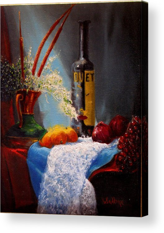 Still Life Acrylic Print featuring the painting Just Duet by David Sullins