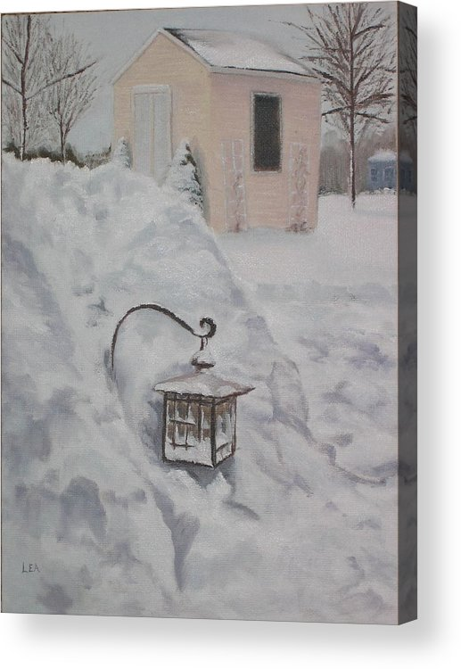 Snow Acrylic Print featuring the painting Lantern in the Snow by Lea Novak