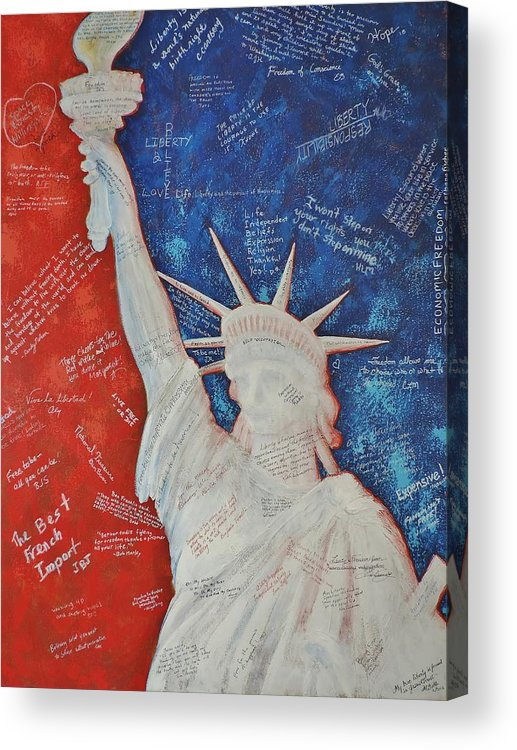 Statue Of Liberty Acrylic Print featuring the painting Liberty Is... by Margaret Bobb
