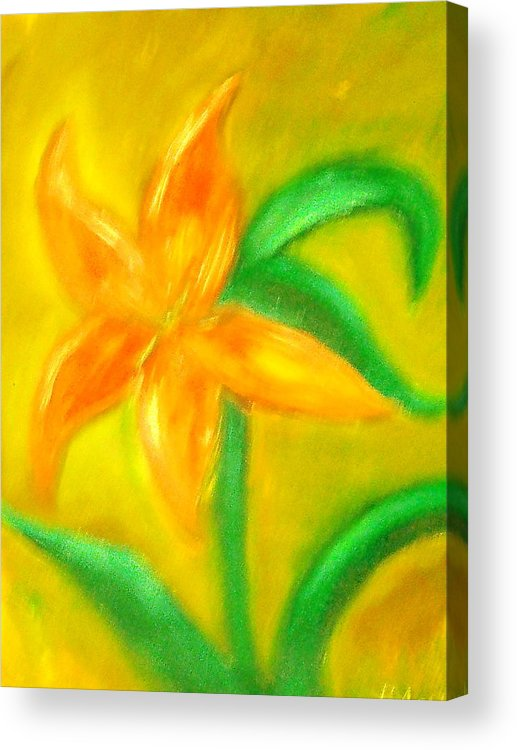Flower Acrylic Print featuring the painting Lilly by BJ Abrams