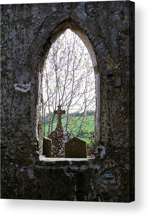 Ireland Acrylic Print featuring the photograph Looking Out Fuerty Church Roscommon Ireland by Teresa Mucha