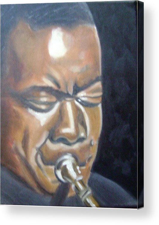 Louis Armstrong Acrylic Print featuring the painting Louis Armstrong by Toni Berry