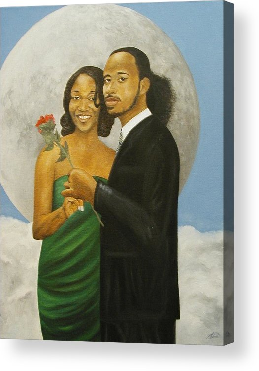 Portrait Acrylic Print featuring the painting Love at Full Moon by Angelo Thomas
