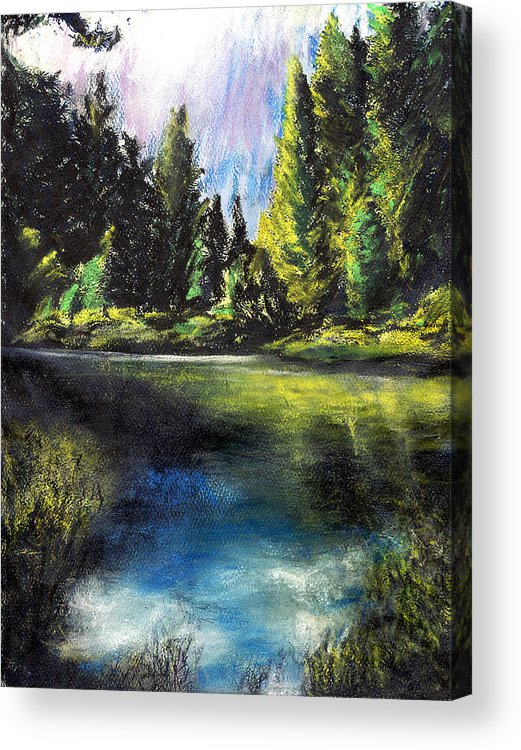 California Acrylic Print featuring the pastel Merced River Bank by Randy Sprout