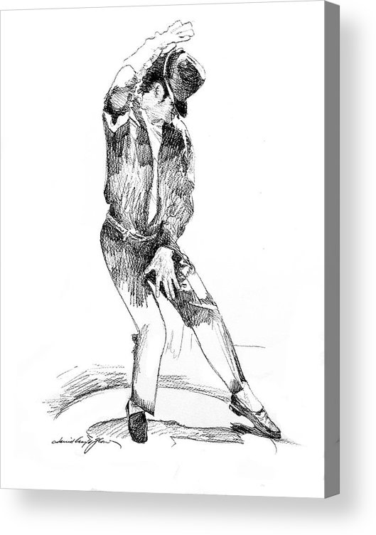 Michael Jackson Acrylic Print featuring the drawing Michael Jackson Dancer by David Lloyd Glover