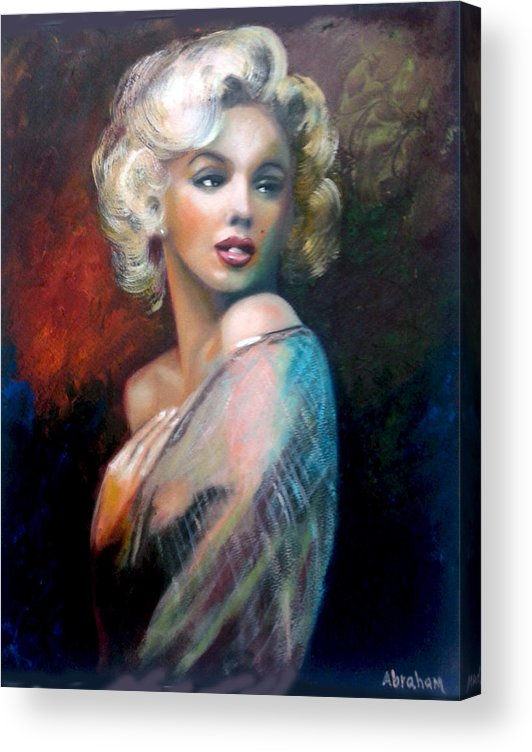 Monroe. Women. Acrylic Print featuring the painting M.Monroe by Jose Manuel Abraham