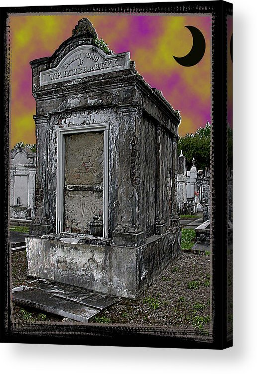 New Orleans Acrylic Print featuring the photograph Moonlit Cemetary by Linda Kish