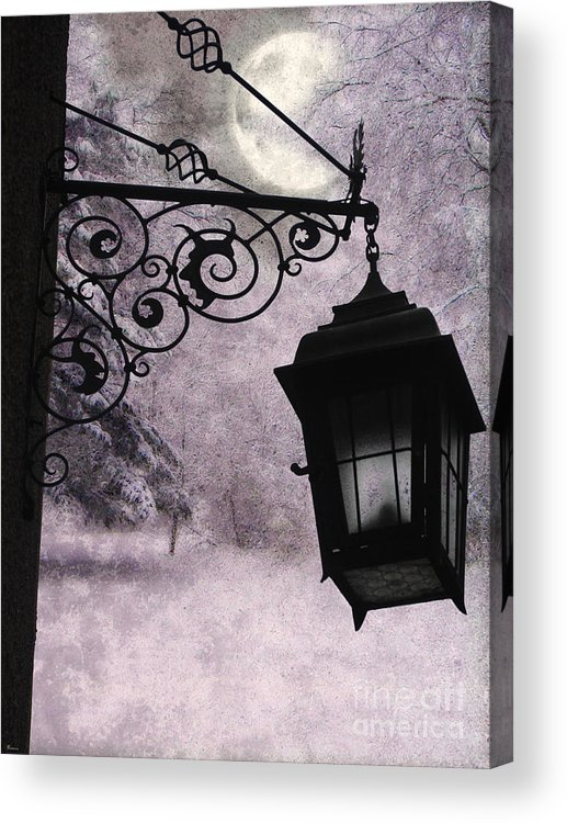 Moon Nature Snow Lamplight Lantern Forest Tavern Emo Winter Lavender Black Moody Acrylic Print featuring the mixed media Moonlit by Tammera Malicki-Wong