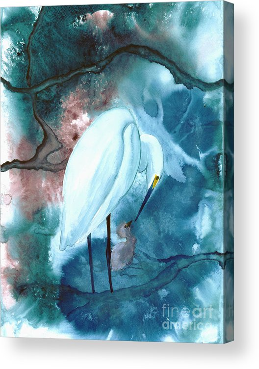 A Mother Egret With Her Chick- A Watercolor Painting Acrylic Print featuring the painting Mother And Child by Mui-Joo Wee