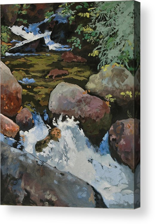 Creek Acrylic Print featuring the painting Mountain Stream by Robert Bissett