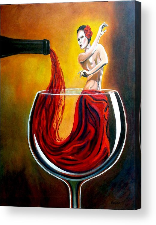 Wine Acrylic Print featuring the painting My Wine Lady by Jose Manuel Abraham