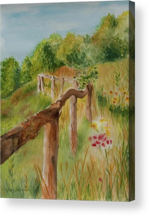 Apple Orchard Acrylic Print featuring the painting North Carolina Apple Orchard by Judy Swerlick