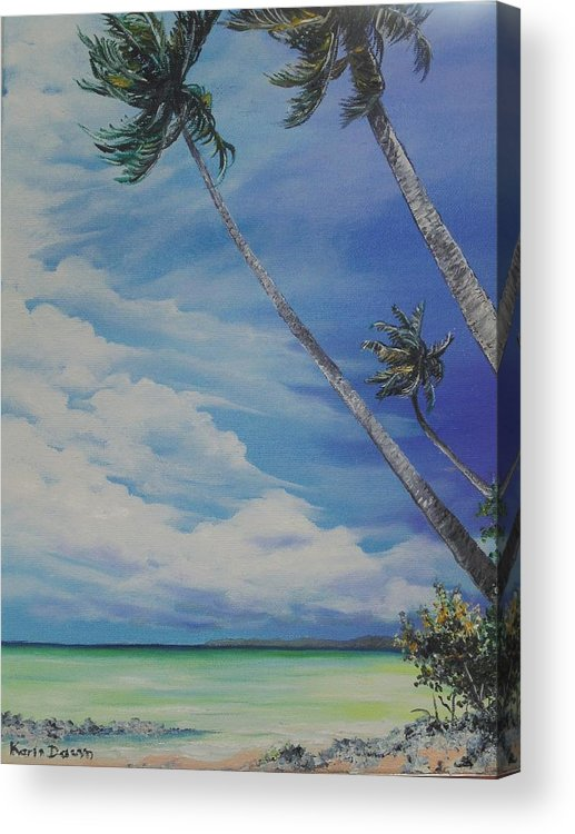 Trinidad And Tobago Seascape Acrylic Print featuring the painting Nylon Pool Tobago. by Karin Dawn Kelshall- Best